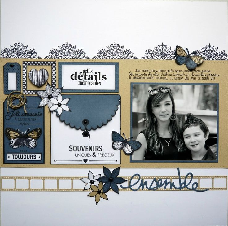 Blue and tan scrapbook layout