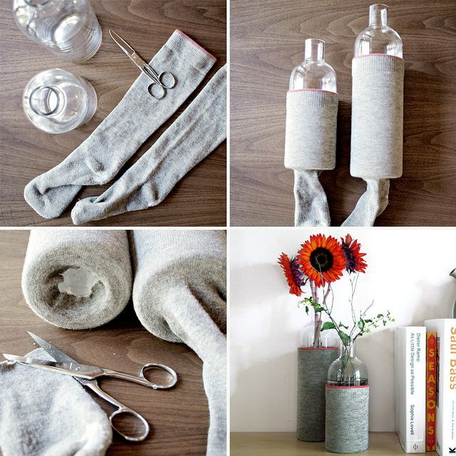 Cozy fall vases made with old wool socks on the Modern Thrifter blog
