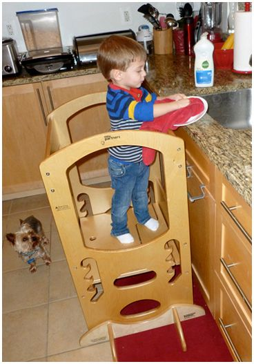 "Learning Tower- 2 year old can reach to ""help"" with washing dishes, cooking prep, etc"