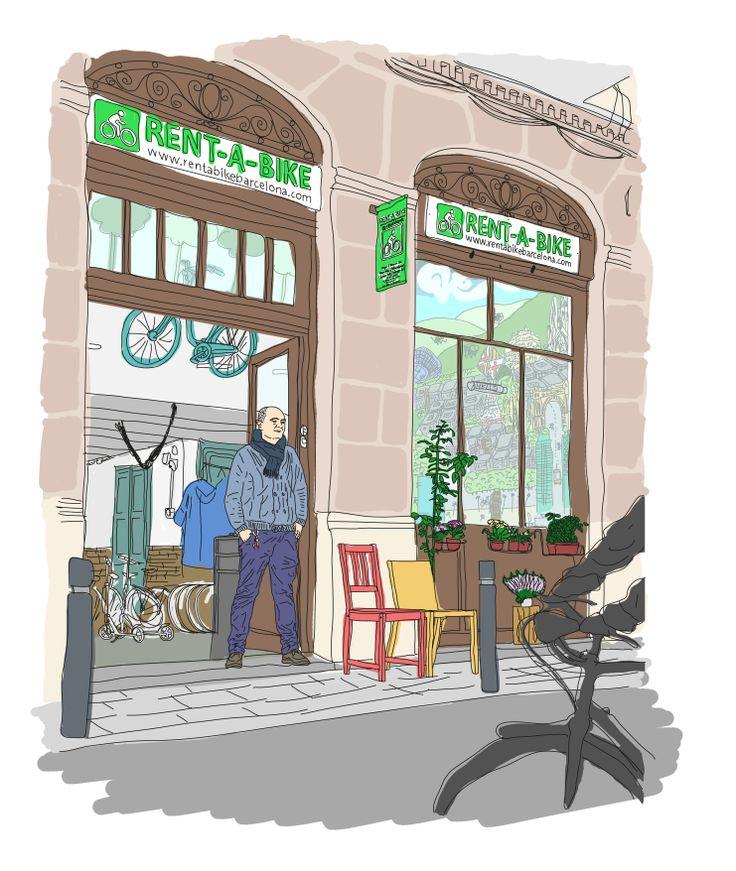 Artistic impression of the Rentabikebarcelona bike rental shop by Sergi Bastida