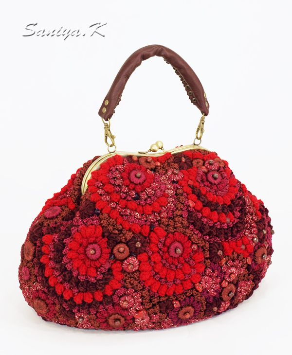 Pomegarnt crochet bag