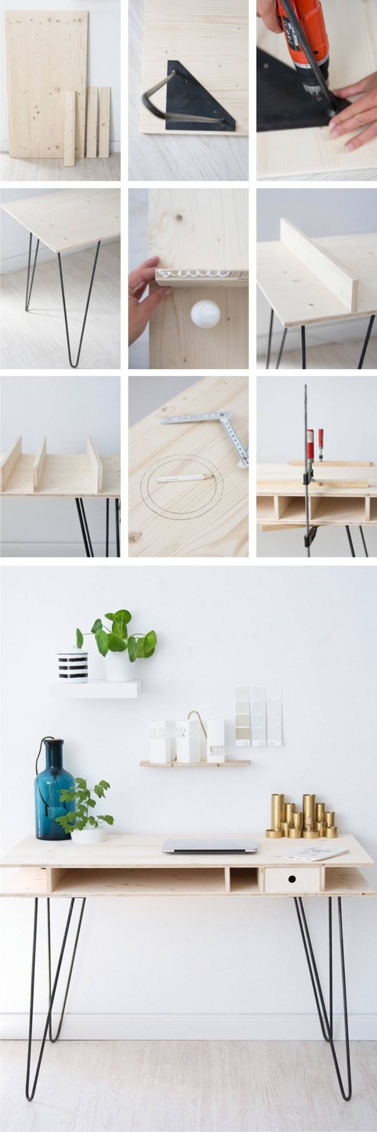 DIY Table with Hairpin Legs - sinnenrausch.blogspot.com - Mesa DIY pies hairpin