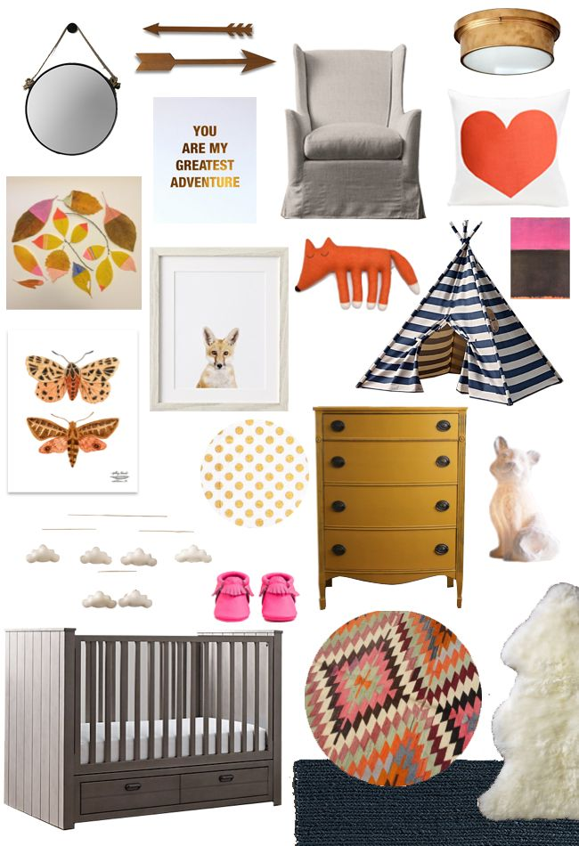 And the design board that inspired many of my picks for this Pin party! Featuring the fox nightlight, wingback swivel glider, rope mirror, Haven crib, sheepskin rug, striped canvas tent, little fox portrait, cloud mobile, and chunky braided wool rug from #rhbabyandchild #fallinlove