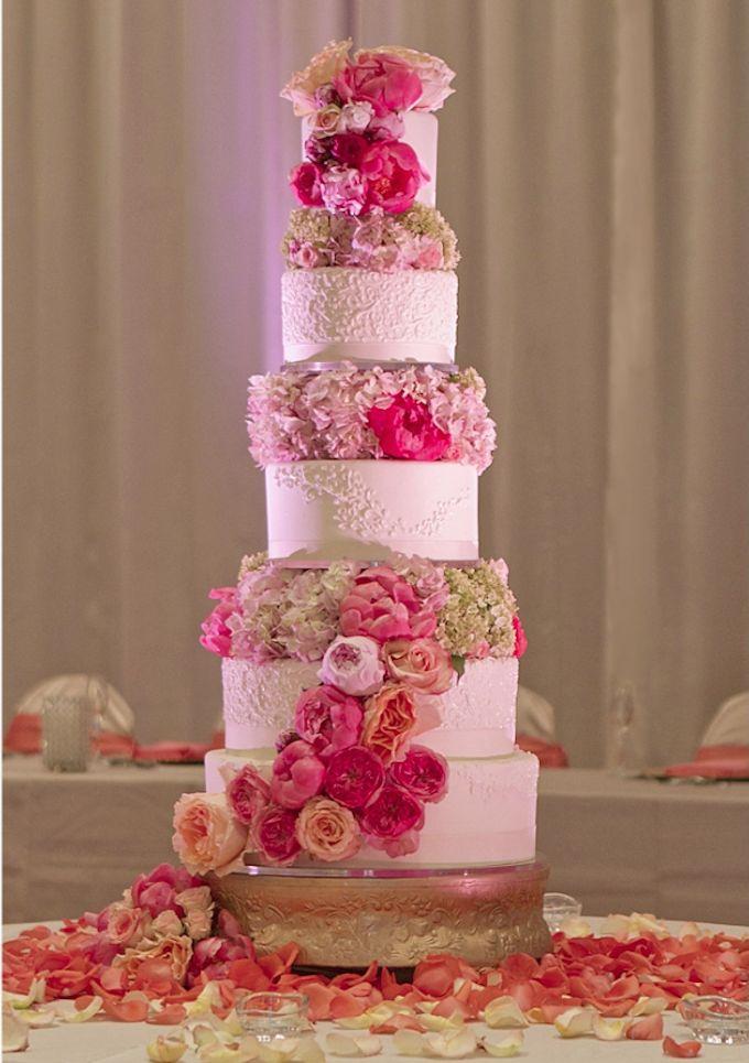 five tier rose wedding cake