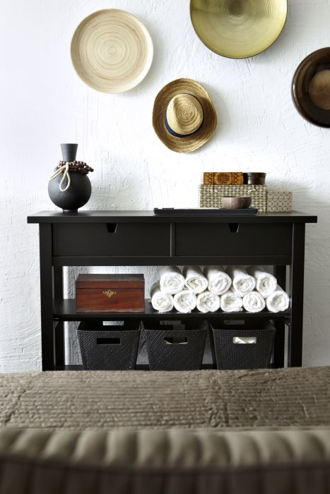 A NORDEN sideboard stocked with extra linens and toiletries will make guests at your B&B feel right at home.