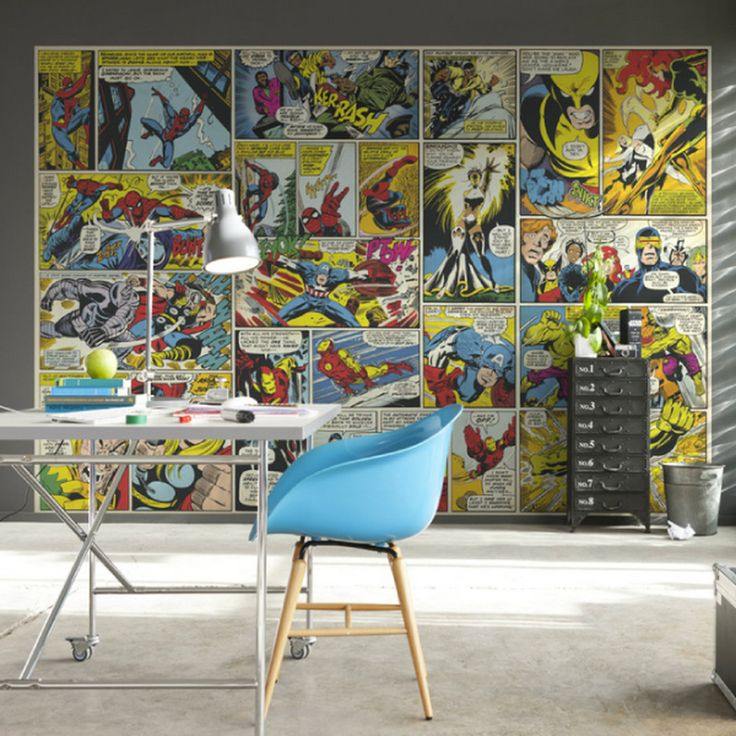 Poster extra large heros marvel format bd 368 x 254 cm id es d co chambres parement mural - Deco chambre spiderman ...
