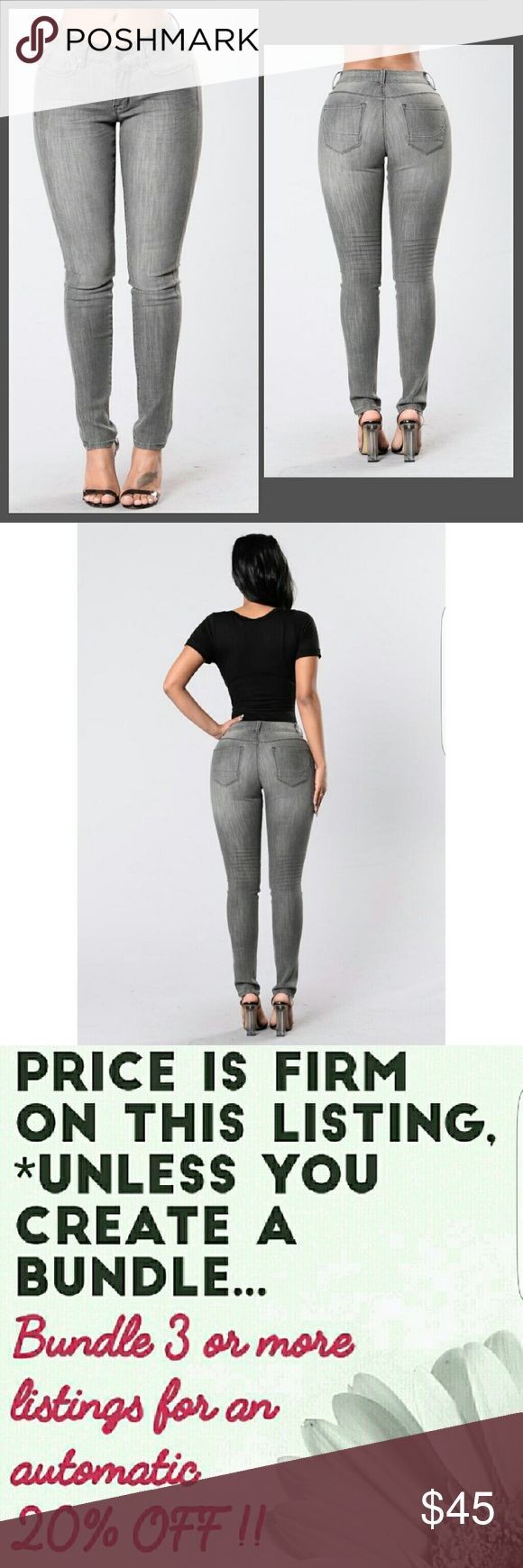 "Brand New, Gorgeous Grey Jeans. Size; 7, 9, 11 Brand New.. These premium 5 pocket mid rise jeans hug everywhere! Curve contouring. The awesome stretch makes them just about ""feel like yoga pants""!  Color; Grey.  Material; 77% Cotton, 8% Polyester, 13% Viscose, 2% Spandex.  Sizes; 7, 9, 11. Ladi Lyke Jeans Straight Leg"