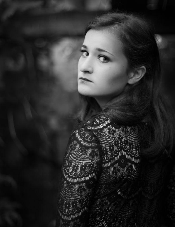 Edited selfportrait. Black and white portrait. Elise Kristin Hodnefjell