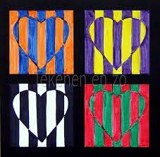 tertiaire kleuren: je ziet hier vier hartjes met tertiaire kleuren door menging van primaire met secundaire kleuren