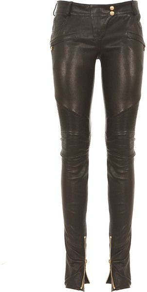Black Leather Biker Pants - Lyst