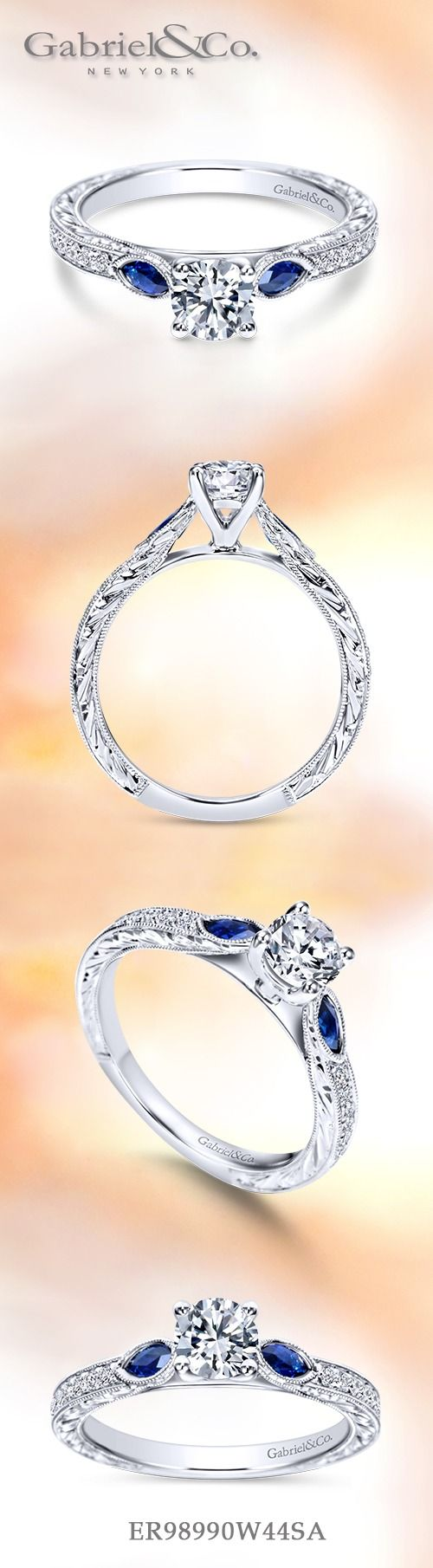 Gabriel NY - Voted #1 Most Preferred Fine Jewelry and Bridal Brand. Vintage 14k White Gold Round 3 Stones  Engagement Ring