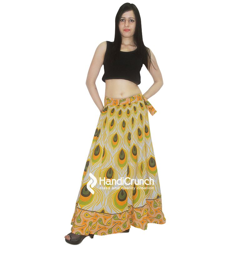 Yellow color printed skirt rapron for women