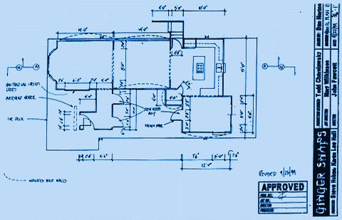 Main Floor Plan (Working Drawing); blueline from pencil on vellum; drawn by Dan Norton, 1st Assist. Art Director; 1999