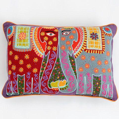 Madhubani Elephant Cushion - Multicolour