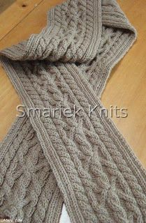 Triumph Cable Scarf Pattern ~ smariek knits. @Alexandra Seelbach This is the scarf I was telling you about that I had made. It turned out perfect!