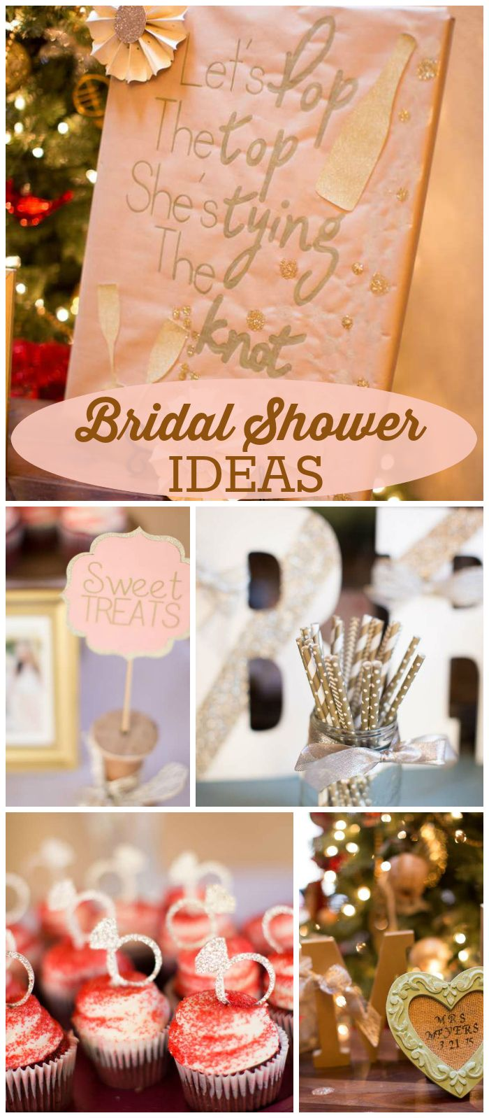 A champagne and gold bridal shower with pops of mint, coral, blush, peach and light blue! See more party planning ideas at CatchMyParty.com!
