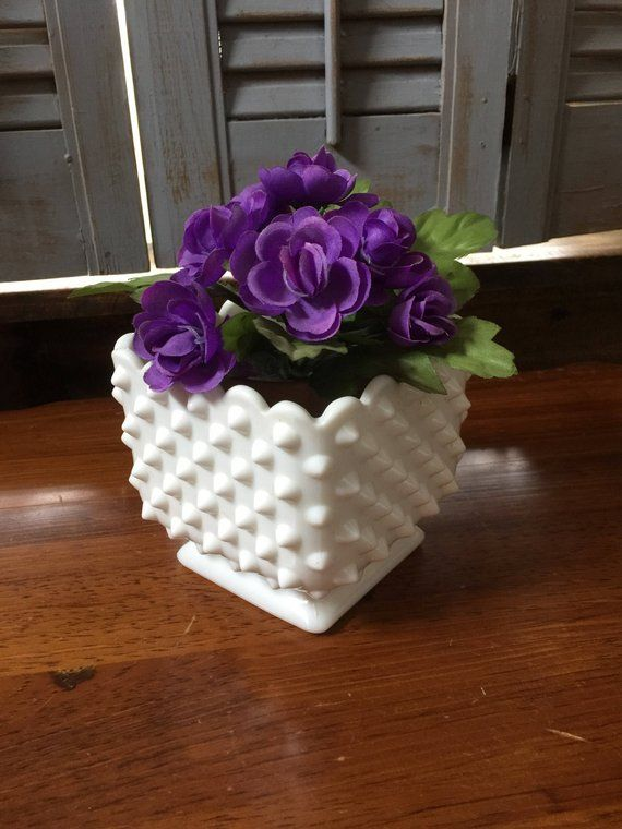 Pinterest & Square Milkglass Pedestal Planter Heavy Vintage Hobnail Flower Pot ...
