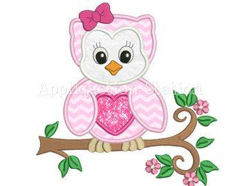 Parque zoológico bebé búho con arco rama apliques bordado diseño Woodland Ave linda chica Animal instantánea descarga de máquina