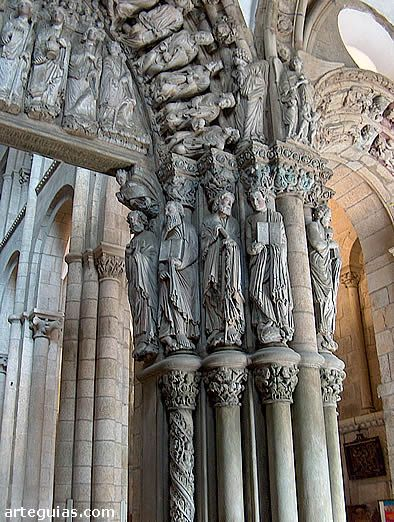 Detalle del Pórtico de la Gloria de Santiago de Compostella