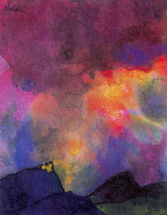Paysage de montagne foncé de Emile Nolde (1867-1956, Germany)