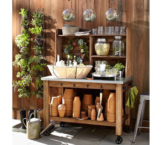 Love This Gardening Workbench As Seen In Pottery Barn: Complete With  Succulents And Air Plants For Decoration.
