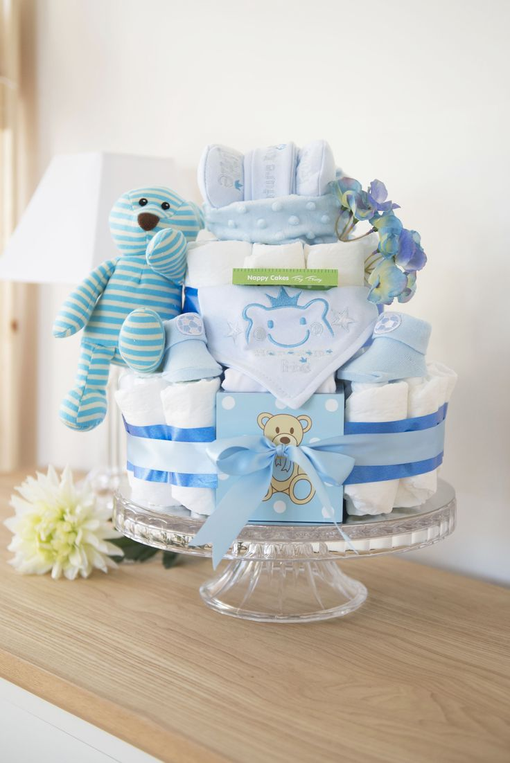 Super Special Stripe Bear Nappy Cake. Packed full of baby products. Perfect gift & Baby Shower. Centrepiece www.nappycakesbybetty.com