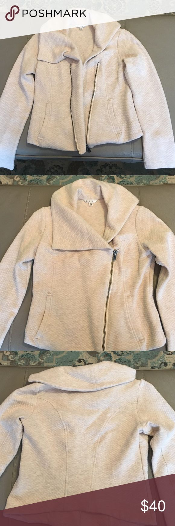 CAbi cream jacket Like new condition - CAbi XS cream zip up jacket. Very cute detail to it! CAbi Jackets & Coats