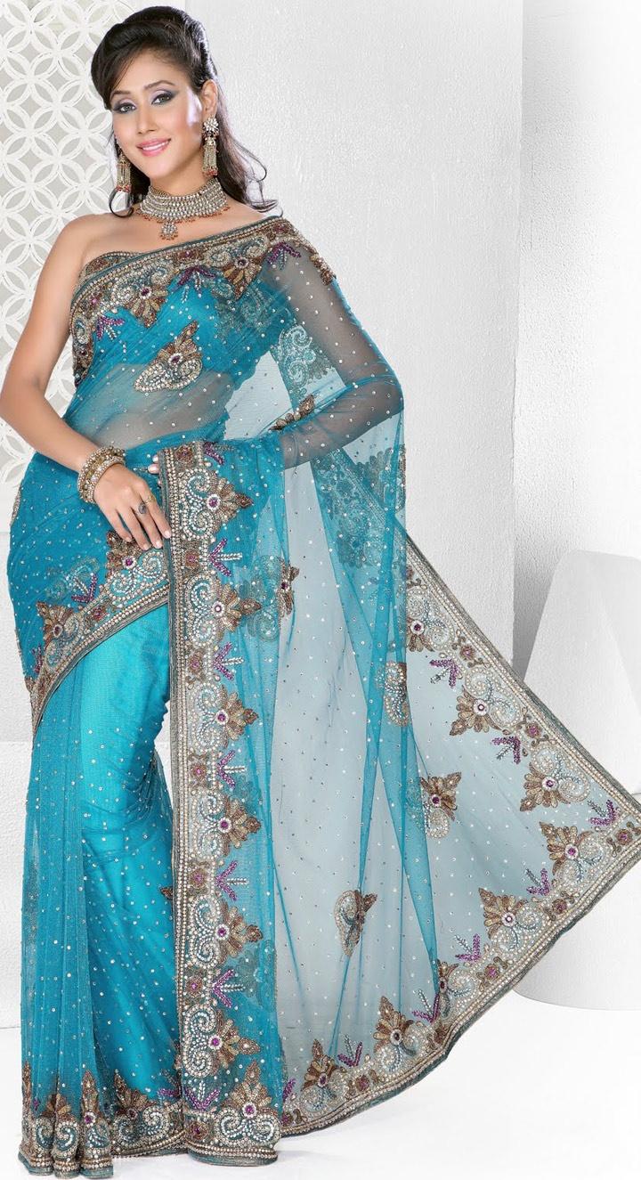 #Turquoise Embroidered Net #Wedding #Saree