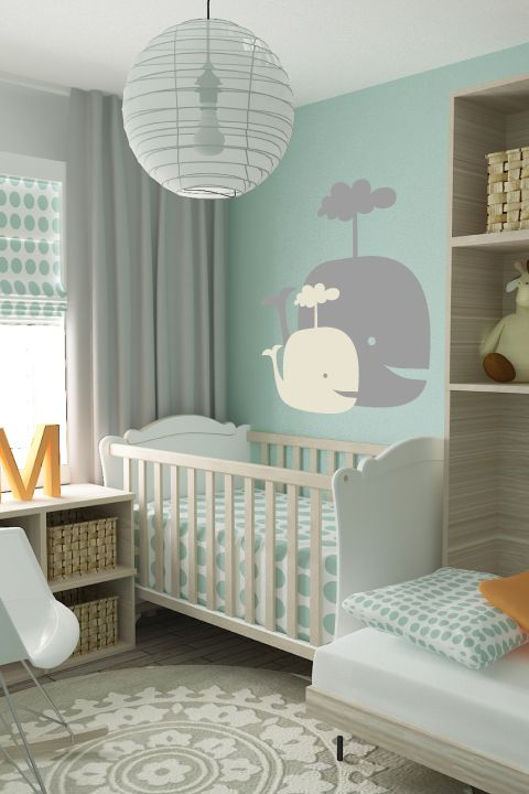 Baby Whales by WALLTAT are a 2-Pack of cuteness.  Photo: Size B in Grey and Ivory. #babynursery
