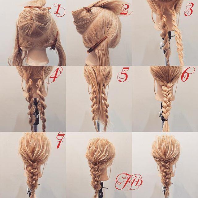 フォロワーさんリクエスト★ バックカチューシャを使った簡単アレンジ✨ 1,2,上と下で写真のように分けます 3,4,下の髪だけロープ編みを作ります(三つ編みでもいいです) 5,上の髪をおろします 6,それを三つ編みにします 7,崩します Fin,バックカチューシャをつけたら完成です 動画は後ほど載せます★ 参考になれば嬉しいです^ ^ #ヘア#hair#ヘアスタイル#hairstyle#サロンモデル#サロモ#撮影#編み込み#三つ編み#フィッシュボーン#ロープ編み#まとめ髪 #アレンジ#結婚式#ブライダル#ヘアアレンジ#アレンジ動画#アレンジ解説#香川県#高松市#丸亀市#宇多津#美容室#美容院#美容師#バックカチューシャ