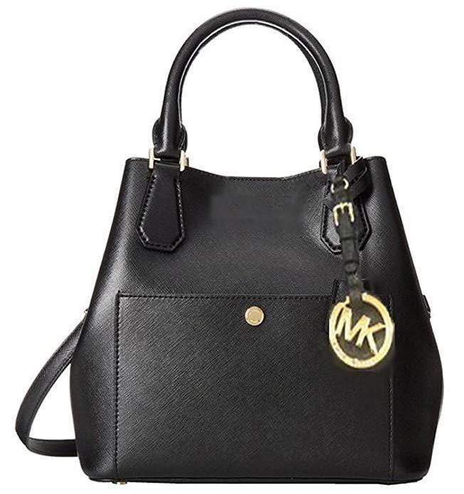 2ff8fef347dbeb ... discount fashion new authentic michael kors greenwich medium grab bag  in black leather 603c0 10c0f