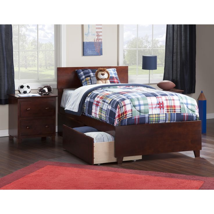 atlantic orlando walnut twin xl bed with matching footboard and 2 urban bed drawers size
