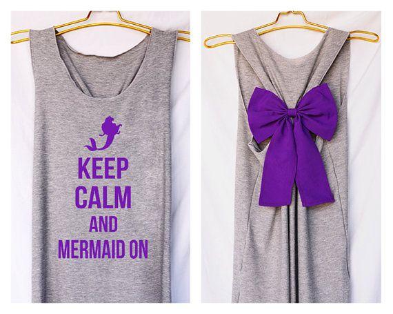 Keep calm and mermaid on Premium with Bow : Workout Shirt - Keep Calm Shirt  - Bow Shirt - Razor Back Tank - Bride team - tank top