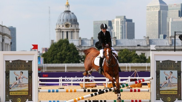Brightwood Ursa Major competes during the Riding Show Jumping  Gintare Venckauskaite of Lithuania riding Brightwood Ursa Major competes during the Riding Show Jumping in the Women's Modern Pentathlon on Day 16.