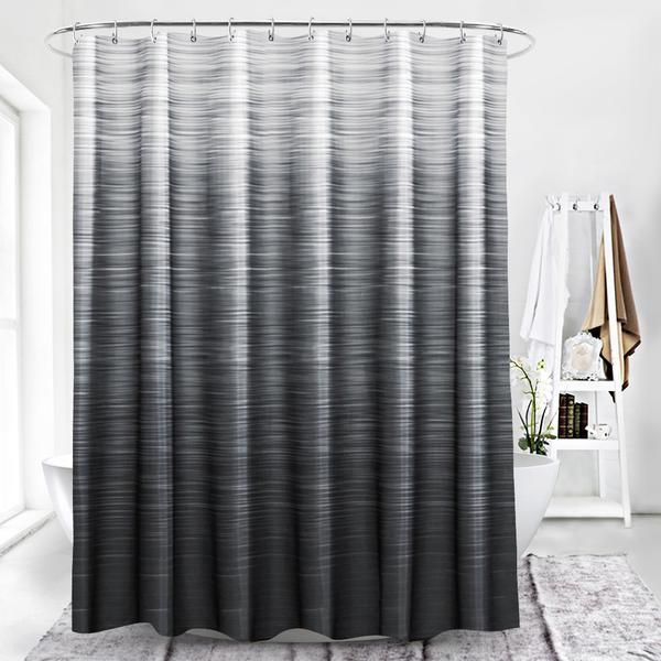 Black Shower Curtains With Faded Grey Fabric With Images Elegant Shower Curtains Black Shower Curtains Shower Curtain Decor