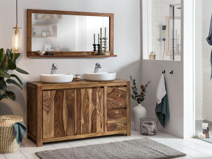 Der Massive Waschtisch Leeston Bietet Hinter Den Turen Und Mit Seiner Schublade Woodkings Mit Bildern Waschtisch Schubladen Regal Holz