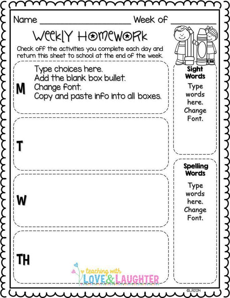 Editable Weekly Homework Checklists
