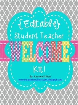 {EDITABLE!!}  Student Teacher Welcome Binder!! Welcome your Student Teacher with this resource all about your classroom and school.  Editable for any grade level.