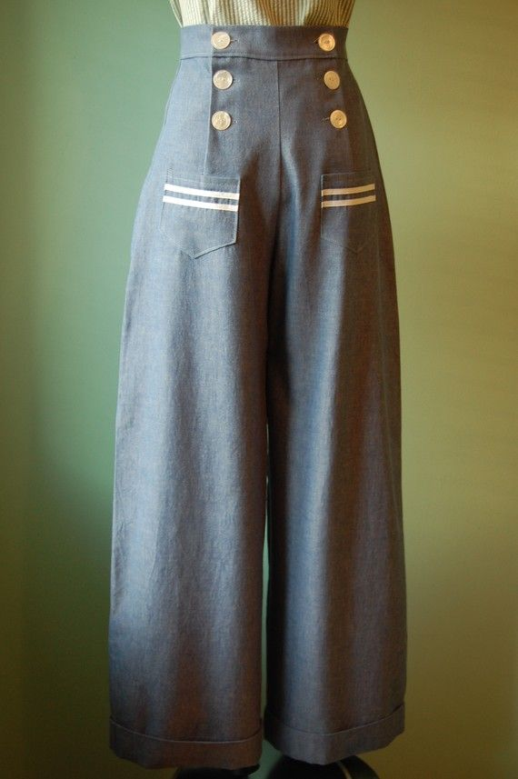 1930's 1940's vintage style light blue denim sailor high waist pants ! #vintage Nice wide, relaxed legs.