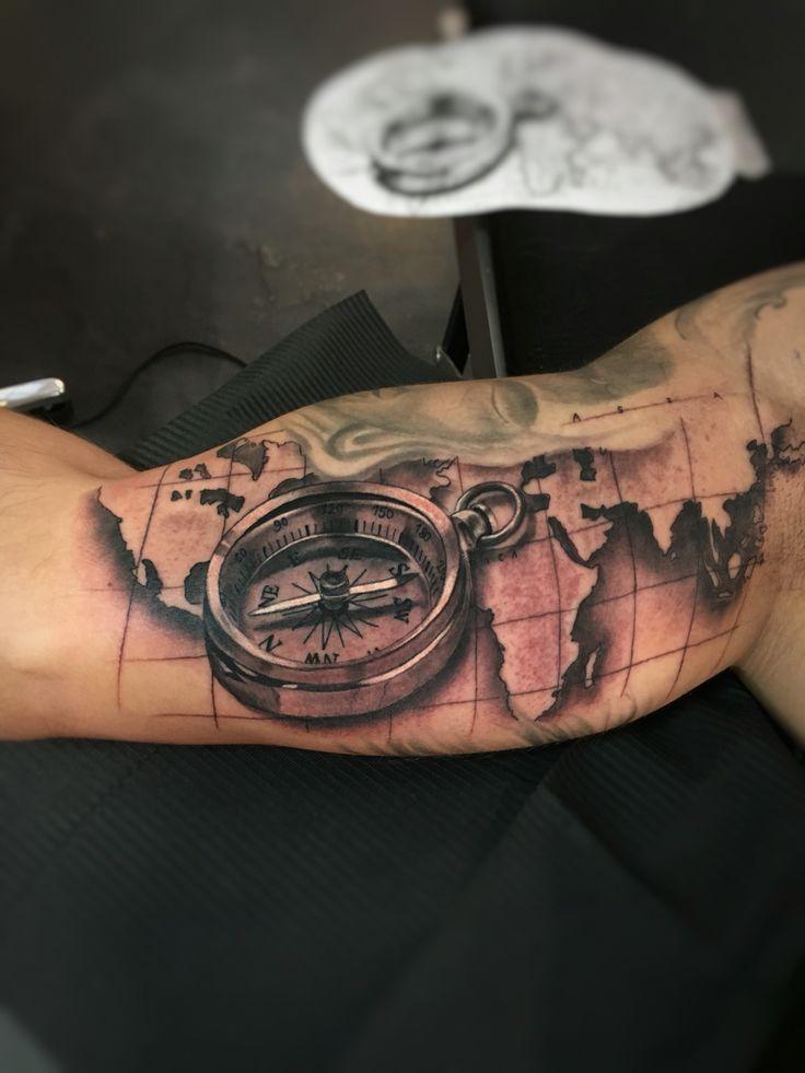 Realistic compass tattoo by Ryan Foley Tattoo