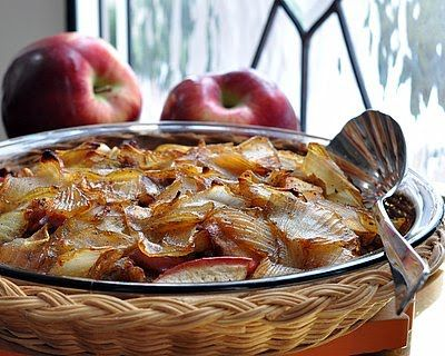 A make-ahead breakfast casserole, layers of sausage, apple and caramelized onion. Unusual and addictive! Text, photograph and recipe for Breakfast Casserole with Sausage, Apples & Caramelized Onions © Kitchen Parade, All Rights Reserved.