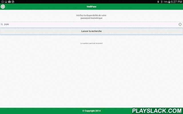 VediPass  Android App - playslack.com , Avec VediPass, vérifiez si votre passeport biométrique est prêt à être retiré au niveau du Consulat Général d'Algérie à Paris (Bientôt l'application sera fonctionnelle avec les autres consulats) .• Vedipass vous informe de la disponibilité de votre passeport biométrique.• Plus besoin de vous déplacer ni d'appeler votre consulat.Fonctionnement en deux étapes1- Téléchargez gratuitement l'application VediPass 2- Introduisez le numéro de votre récépissé de…
