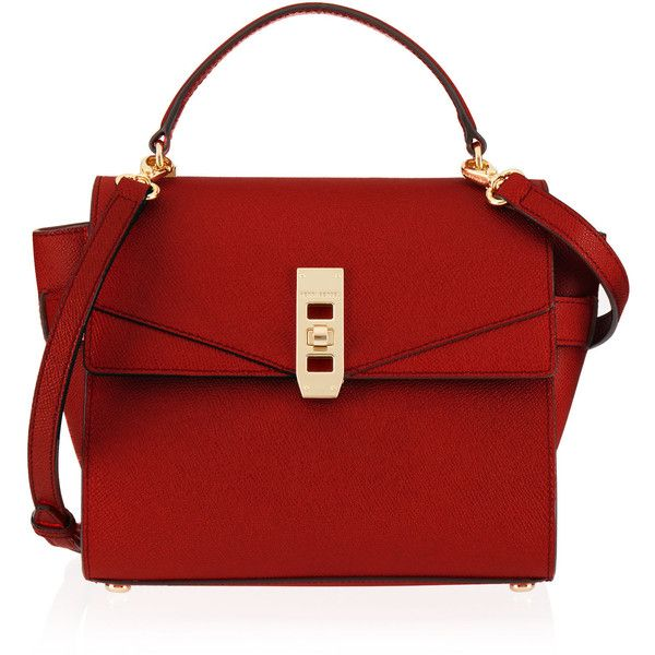Henri Bendel Uptown Mini Satchel found on Polyvore featuring bags, handbags, bolsas, purses, red, handle satchel, red satchel, satchel purses, flap purse and satchel handbags