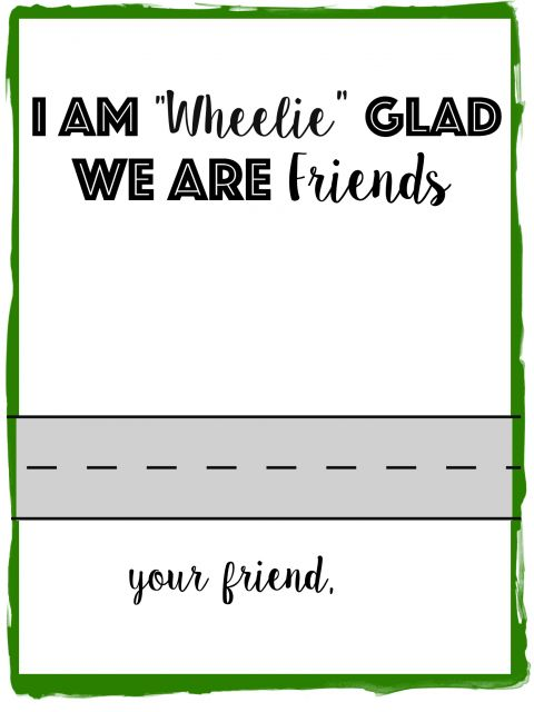 """Race Car Valentine Printable: I am """"Wheelie"""" Glad We Are Friends! Print this non-candy valentine printable for all the race car loving kids."""