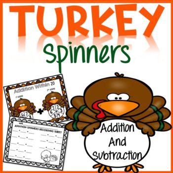 "This Thanksgiving Math Center includes differentiated addition and subtraction Spinner activities with a cute ""turkey"" theme! Your students will practice adding and subtracting within 10 and within 20. Recording sheets included! This set is great for"