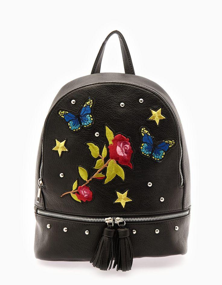 Рюкзак с нашивками и цветами