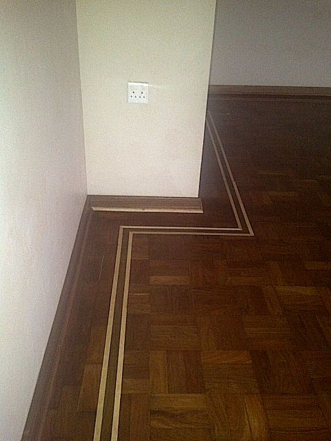 Recycled parquet blocks with a small attractive border