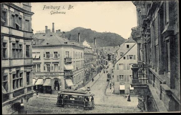 """Blick in die Gerberau 1904 - Eine schöne Aufnahme mit einem Blick in die Gerberau. Die Aufnahme wurde vom Balkon des damaligen Hotel """"Freiburger Hof"""" gemacht.   Vielen Dank für dieses Bild an unseren Facebook-Fan Michael Engl /*  */"""