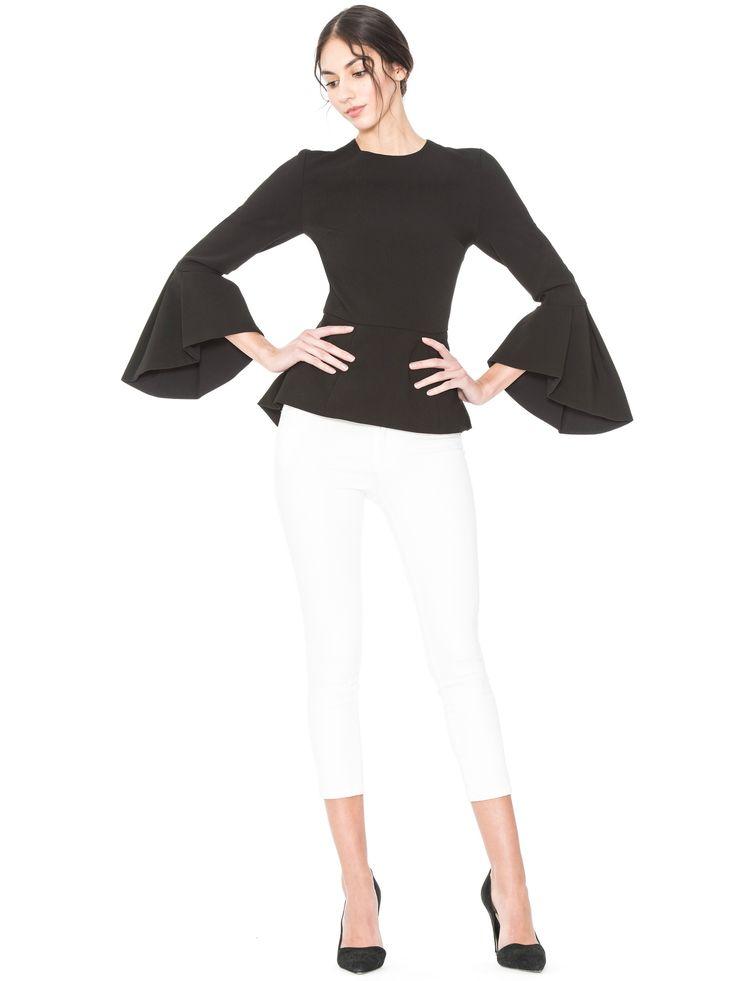 ALICE AND OLIVIA BLACK RUBY HIGH LOW PEPLUM TOP. #aliceandolivia #cloth #