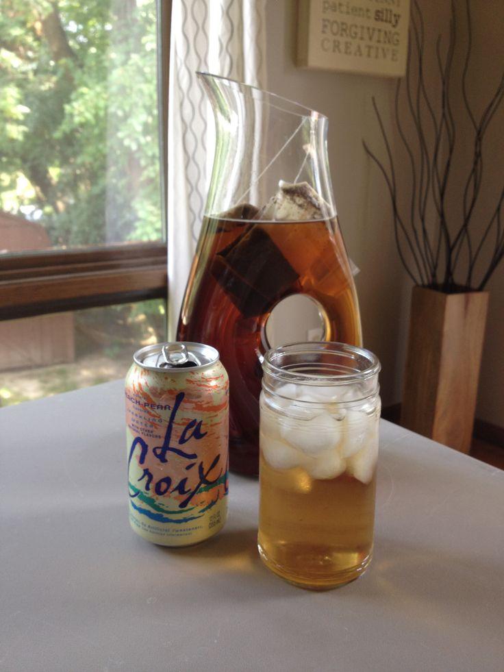 Peach-pear sparkling iced tea.  2/3 tea + 1/3 peach pear La Croix flavored water.